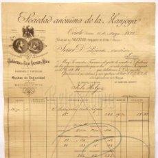 FACTURA SOCIEDAD ANÓNIMA DE LA MANJOYA. POLVORA DINAMITA EXPLOSIVOS. OVIEDO 1898