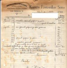Factures anciennes: FACTURA COMERCIAL DE CONSTRUCCIONES RAMÓN FONTANILLAS SERRA DE VALLS -TARRAGONA-. Lote 65963154