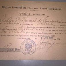 Facturas antiguas: DISTRITO FORESTAL DE GUIPÚZCOA. 1941. Lote 66047286