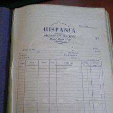 Facturas antiguas: UBRIQUE (CADIZ). FACTURA HISPANIA. MANUEL ANGULO FRIAS. ARTICULOS DE PIEL. Lote 67043946