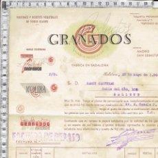 Facturas antiguas: FACTURA PRODUCTOS GRANADOS HARINAS Y ACEITES VEGETALES DE TODAS CLASES-BADALONA-1944.. Lote 67046050