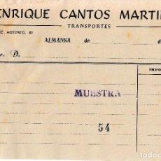 Facturas antiguas: ALMANSA (ALBACETE). FACTURA ENRIQUE CANTOS MARTINEZ. TRANSPORTES. Lote 67047674