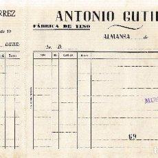 Facturas antiguas: ALMANSA (ALBACETE). FACTURA ANTONIO GUTIERREA. FABRICA DE YESOS. Lote 67047822
