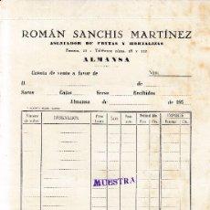 Facturas antiguas: ALMANSA (ALBACETE). FACTURA ROMAN SANCHIS MARTINEZ. ASENTADOR DE FRUTAS Y HORTALIZAS. Lote 67048042