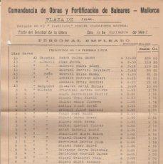 Facturas antiguas: COMANDANCIA DE OBRAS Y FORTIFICACION DE BALEARES. CON SELLOS .1937 . ( 2 FOTOS ). Lote 67109713