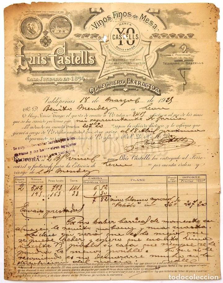 FACTURA COSECHERO EXTRACTOR LUIS CASTELLS VINOS FINOS DE MESA. VALDEPEÑAS CIUDAD REAL 1925 (Coleccionismo - Documentos - Facturas Antiguas)