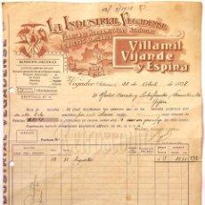 Facturas antiguas: FACTURA FABRICA HERRAMIENTAS AGRICOLAS LA INDUSTRIAL VEGADENSE VILLAMIL VIJANDE ESPINA ASTURIAS 1938. Lote 67439609