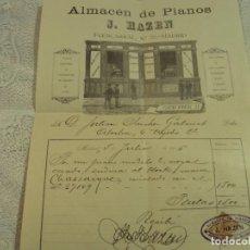 Facturas antiguas: FACTURA DE PIANO DEL AÑO 1916. Lote 67669033