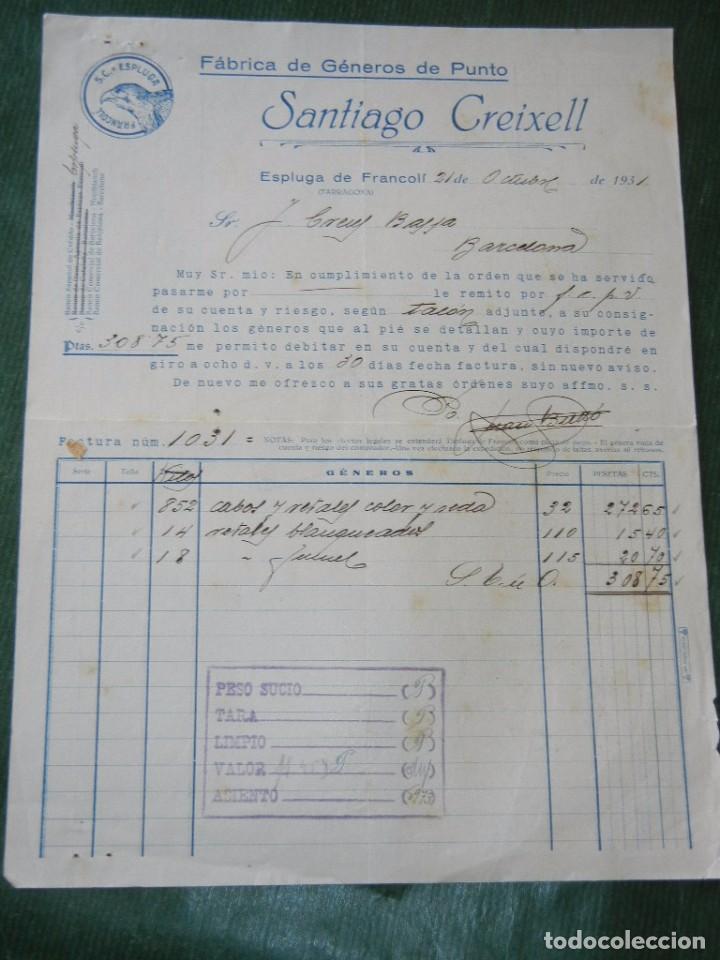 FACTURA MEMBRETE FABRICA GENEROS DE PUNTO SANTIAGO CREIXELL ESPLUGA DE FRANCOLI 1931 (Coleccionismo - Documentos - Facturas Antiguas)