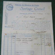 Facturas antiguas: FACTURA MEMBRETE FABRICA GENEROS DE PUNTO SANTIAGO CREIXELL ESPLUGA DE FRANCOLI 1931. Lote 68228969
