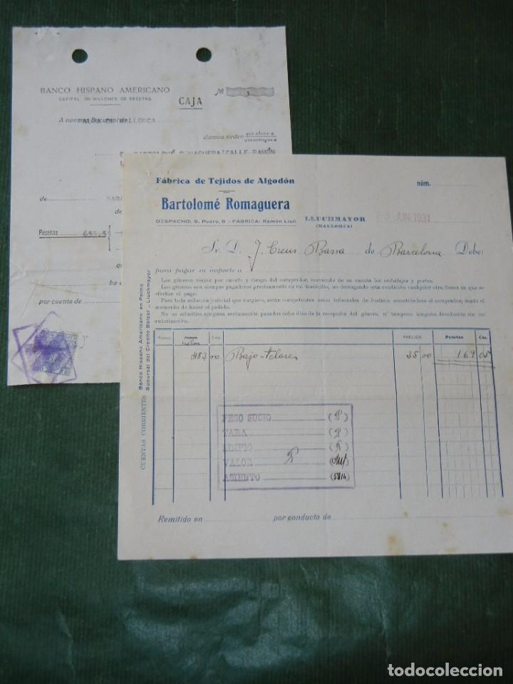 FACTURA FABRICA TEJIDOS DE ALGODON BARTOLOME ROMAGUERA, LLUCHMAYOR, (LLUCMAJOR) MALLORCA 1931 (Coleccionismo - Documentos - Facturas Antiguas)