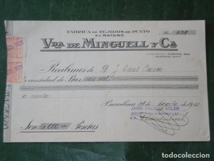 RECIBO FABRICA TEJIDOS DE PUNTO EN MATARO VDA DE MINGUELL Y CA, 1931 (Coleccionismo - Documentos - Facturas Antiguas)