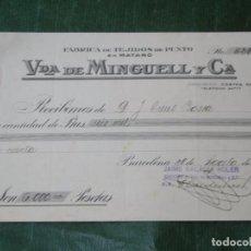 Facturas antiguas: RECIBO FABRICA TEJIDOS DE PUNTO EN MATARO VDA DE MINGUELL Y CA, 1931. Lote 68305793
