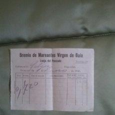 Facturas antiguas: GREMIO MAREANTES, VIRGEN DE GUÍA. LONJA DE PESCADO. AÑO 1940. Lote 68614418