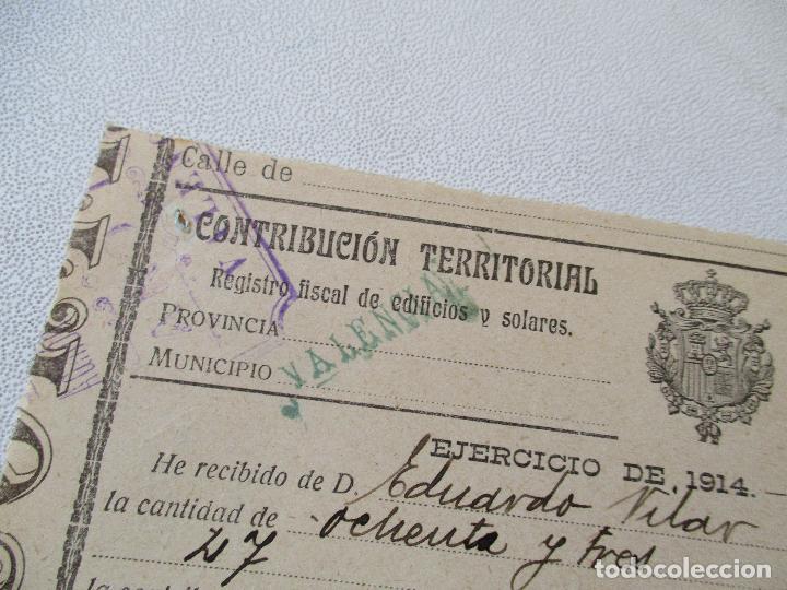 CONTRIBUCIÓN TERRITORIAL-RIQUEZA URBANA-1º. DE NOVIEMBRE DE 1914 (Coleccionismo - Documentos - Facturas Antiguas)