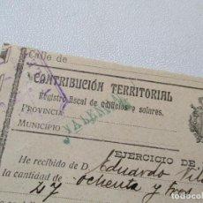 Facturas antiguas: CONTRIBUCIÓN TERRITORIAL-RIQUEZA URBANA-1º. DE NOVIEMBRE DE 1914. Lote 68884765