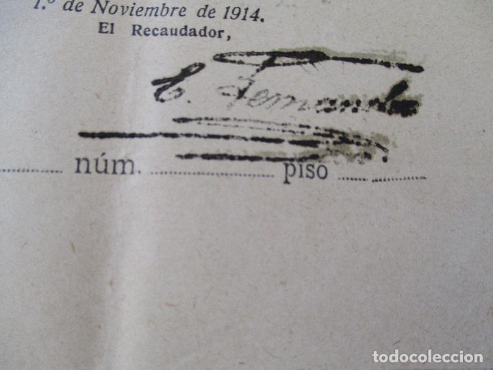 Facturas antiguas: CONTRIBUCIÓN TERRITORIAL-RIQUEZA URBANA-1º. DE NOVIEMBRE DE 1914 - Foto 2 - 68884765