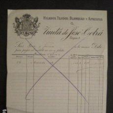 Facturas antiguas: FACTURA ANTIGUA -VIUDA DE JOSE COLRA -HILADOS TEJIDOS ....- BARCELONA - VER FOTOS -(V-7857). Lote 69518725