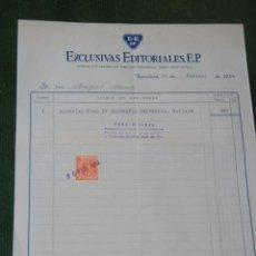 Facturas antiguas: FACTURA EXCLUSIVAS EDITORIALES E.P. 1954. Lote 70086601