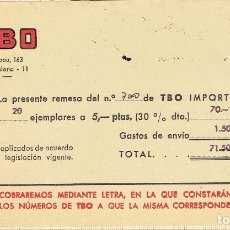 Facturas antiguas: FACTURA REMESA TBO Nº 700- ARIBAU,163-BARCELONA-1971.. Lote 70497770