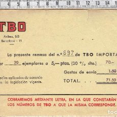 Facturas antiguas: FACTURA REMESA TBO Nº 697 - ARIBAU,163-BARCELONA-1971.. Lote 70498421