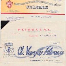 Facturas antiguas: LOTE DE 7 FACTURAS COMERCIALES DISTINTAS DE FÁBRICAS DE CALZADO EN ZARAGOZA -1953 A 1957. Lote 71072081