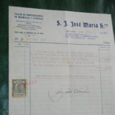 Facturas antiguas: CARTA COMERCIAL MEMBRETE JOSE JOSE MARIA, MARMOLISTA, HOSTAFRANCS BARCELONA, 1927. Lote 71929119