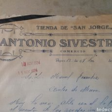 Facturas antiguas: ANTONIO SILVESTRE. AGRES 1924 CARTA COMERCIAL. Lote 72305983