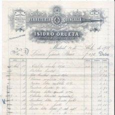 Facturas antiguas: FACTURA ANTIGUSA. FERRETERÍA. QUINCALLA. ISIDRO ORUETA. MADRID 1913.. Lote 72471679