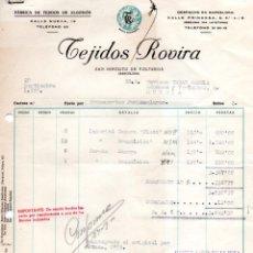 Facturas antiguas: FACTURA, FABRICA DE TEJIDOS DE ALGODON ,TEJIDOS ROVIRA,BARCELONA ,1957.. Lote 72936251