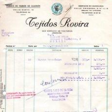 Facturas antiguas: FACTURA, FABRICA DE TEJIDOS DE ALGODON ,TEJIDOS ROVIRA,BARCELONA ,1957.. Lote 72936339