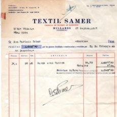 Facturas antiguas: FACTURA ,TEXTIL SAMER,FABRICA DE TEJIDOS DE ALGODON,1957.. Lote 72947891