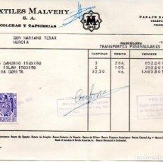 Facturas antiguas: FACTURA,TEXTILES MALVEHY ,S.A. ,COLCHAS Y TAPICERIA, BARCELONA ,1957.. Lote 294093538
