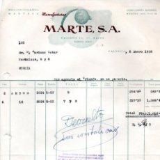 Facturas antiguas: FACTURA ,MANUFACTURAS MARTES ,S.A. VALENCIA ,1958.. Lote 73076947