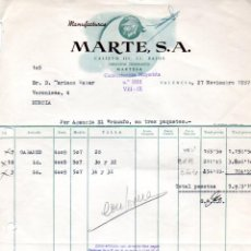 Facturas antiguas: FACTURA ,MANUFACTURAS MARTES ,S.A. VALENCIA ,1958.. Lote 73076971