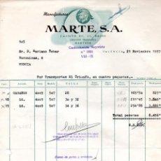 Facturas antiguas: FACTURA ,MANUFACTURAS MARTES ,S.A. VALENCIA ,1958.. Lote 73076995