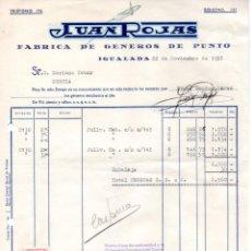 Facturas antiguas: FACTURA ,JUAN ROJAS ,FABRICA DE GENEROS DE PUNTO, 1957.. Lote 73199083