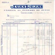 Facturas antiguas: FACTURA ,JUAN ROJAS ,FABRICA DE GENEROS DE PUNTO, 1957.. Lote 73199715