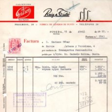 Facturas antiguas: FACTURA,REIG & TUTO ,FABRICA DE GENEROS DE PUNTO, PINEDA, BARCELONA,1957.. Lote 73417531