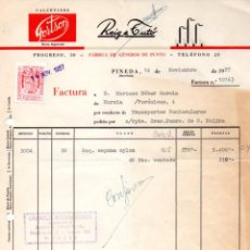 Facturas antiguas: FACTURA,REIG & TUTO, FABRICA DE GENEROS DE PUNTO,PINEDA, BARCELONA ,1957.. Lote 73417579