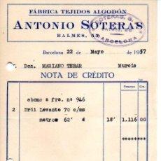 Facturas antiguas: FACTURA ,ANTONIO SOTERAS , FABRICA TEJIDOS ALGODON,1957.. Lote 73479263