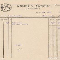 Facturas antiguas: FACTURA. GOMEZ Y SANCHO. ZARAGOZA 1957.. Lote 73927391
