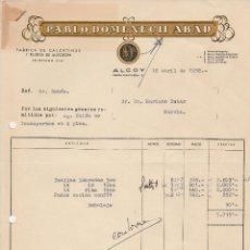 Facturas antiguas: FACTURA. PABLO DOMENECH ABAD. FABRICA DE CALCETINES Y TEJIDOS DE ALGODON. ALCOY. 1958 . Lote 74296847