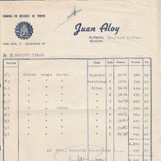 Facturas antiguas: FACTURA. JUAN ALOY. FÁBRICA DE GÉNEROS DE PUNTO. SARDAÑOLA-BARCELONA. 1958.. Lote 74453083
