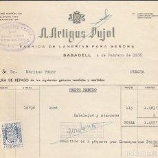 Facturas antiguas: FACTURA. A. ARTIGAS PUJOL. FABRICA DE LANERIAS PARA SEÑORA. SABADELL. 1958.. Lote 74458535