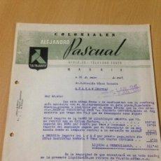 Facturas antiguas: ANTIGUA CARTA COMERCIAL COLONIALES PASCUAL LA PAJARITA MADRID 1945. Lote 74623707