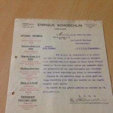 Facturas antiguas: ANTIGUA CARTA COMERCIAL ENRIQUE SCHOECHLIN INGENIERO MADRID 1919. Lote 74624219