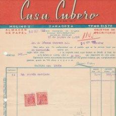 Facturas antiguas: FACTURA. CASA CUBERO. NAIPES FOURNIER, DE VITORIA. ZARAGOZA. 1958.. Lote 75054671