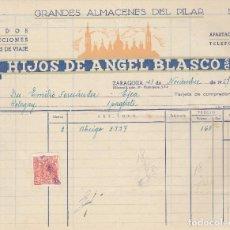 Facturas antiguas: FACTURA. HIJOS DE ANGEL BLASCO. S.C. TEJIDOS CONFECCIONES. ARTÍCULOS DE VIAJE. ZARAGOZA. 1957.. Lote 75058815