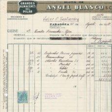 Facturas antiguas: FACTURA. ANGEL BLASCO, S.C. TEJIDOS Y CONFECCIONES. ZARAGOZA. 1957.. Lote 75058979